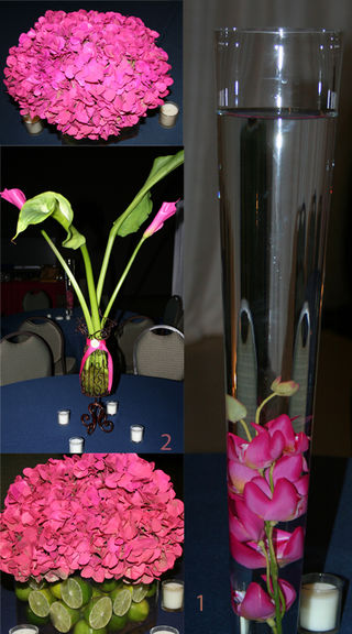 Design I comprised of cylinders with pink submerged orchids