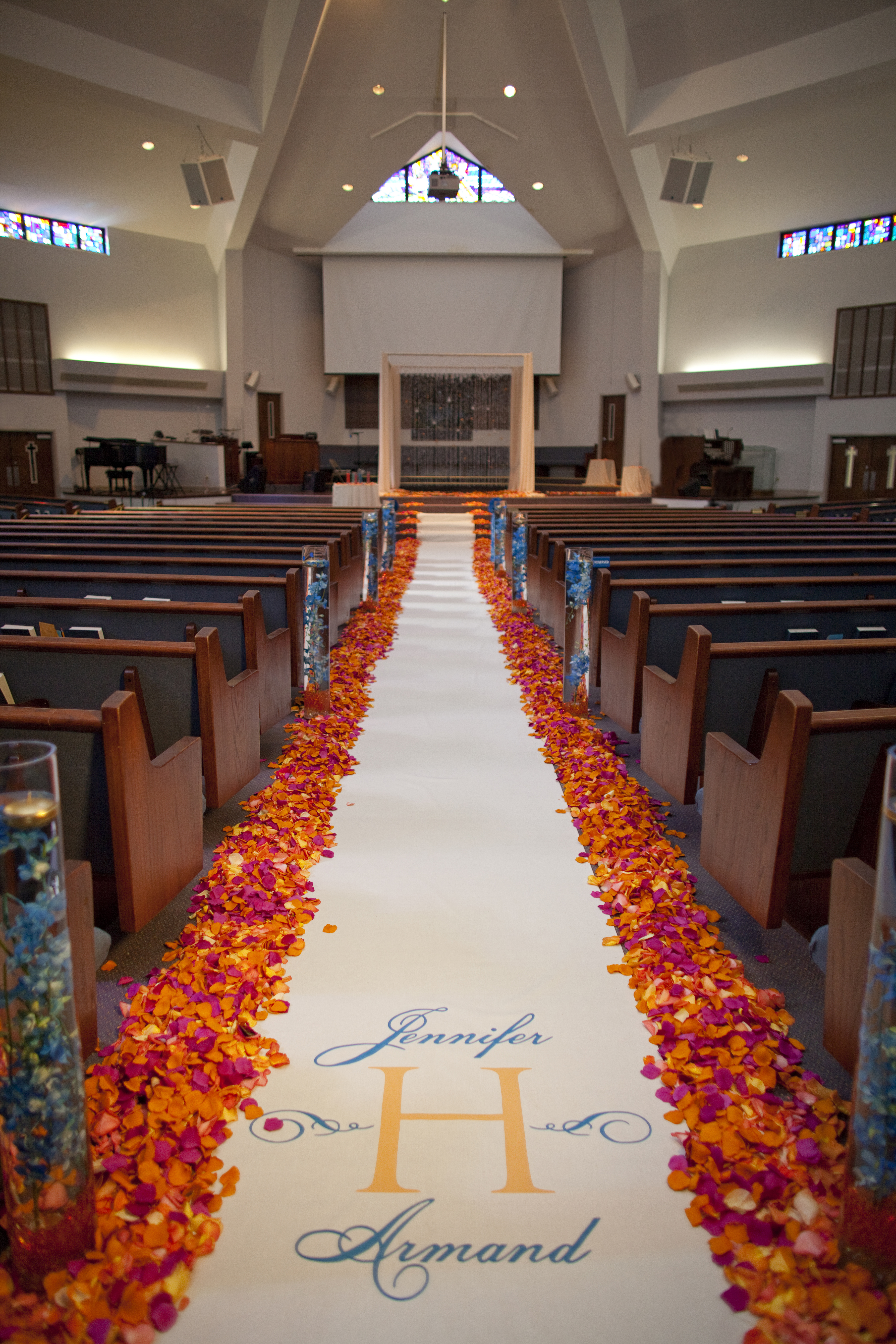 Elegant Blue Church Wedding Decorations